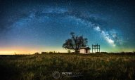 Milky Way over a small church