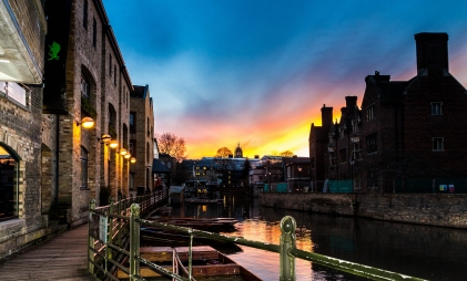A sunset over the river Cam