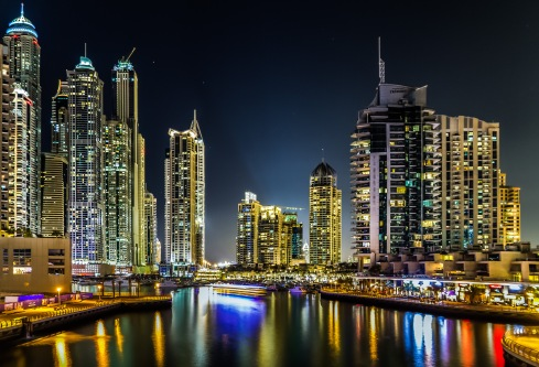 A night view of Dubai Marina