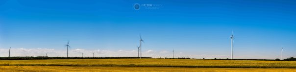 Wind turbines during hot summer day