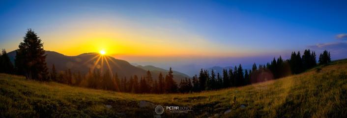 Sunrise from Perelik peak in Rhodope mountains